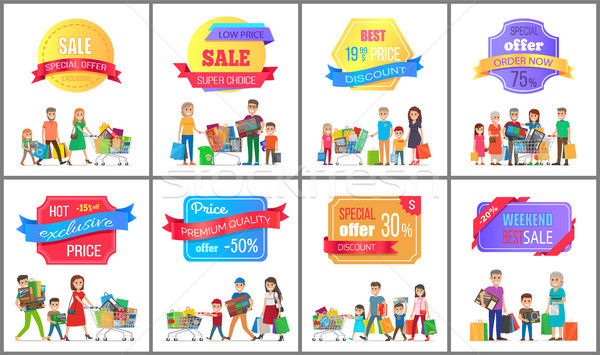 Sale Special Offer Labels Posters People Shopping Stock photo © robuart
