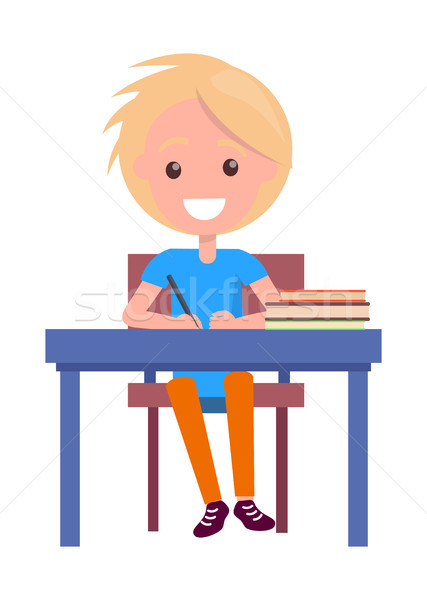 Blonde Boy with Textbooks at School Table Isolated Stock photo © robuart
