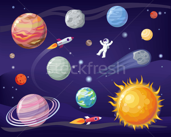 Space and Planets Set Poster Vector Illustration Stock photo © robuart