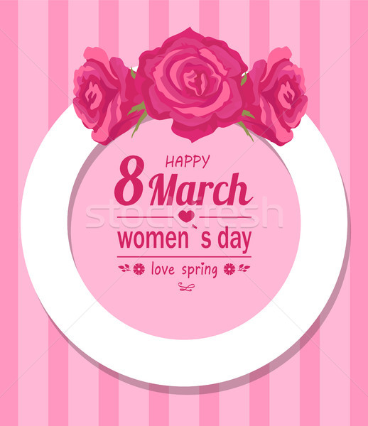 Border Decorated by Rose Flowers, Happy Womens Day Stock photo © robuart