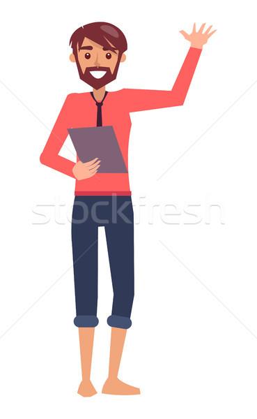 Businessman Waving Hand Poster Vector Illustration Stock photo © robuart