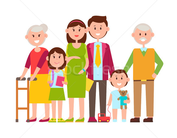 Family Poster of Happy Members Vector Illustration Stock photo © robuart