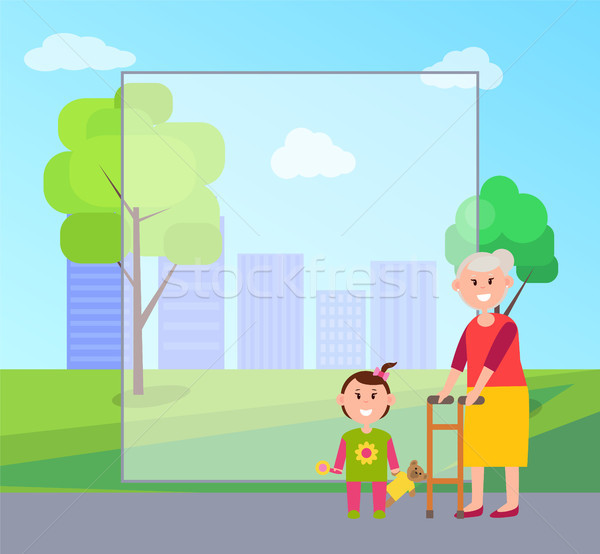 Granny and Granddaughter, Vector Illustration Stock photo © robuart