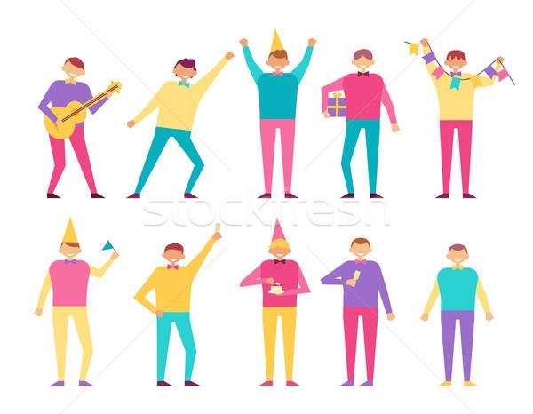 Születésnapi buli szett emberek szórakozás ünnepel játszik Stock fotó © robuart