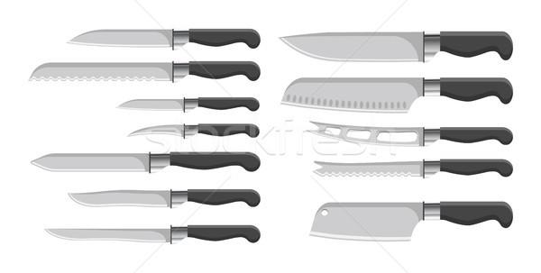 Foto stock: Facas · coleção · utensílios · de · cozinha · conjunto · preto · cor