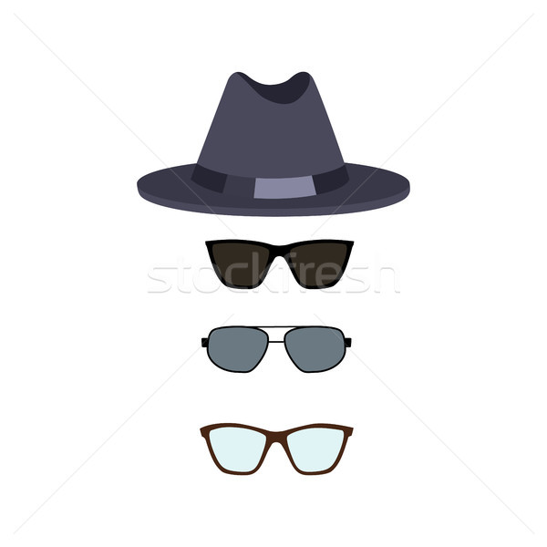 Hat and Glasses Collection Vector Illustration Stock photo © robuart