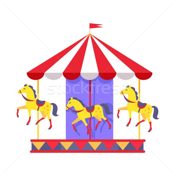Merry-Go-Round with Funny Horses and Striped Roof Stock photo © robuart
