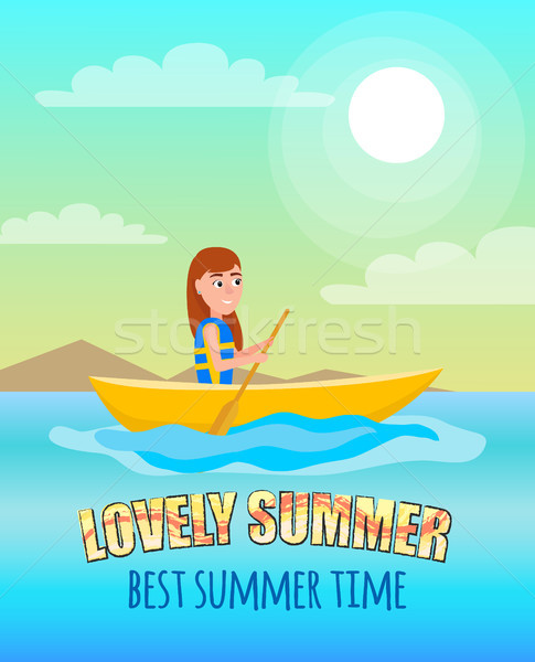 Lovely Summer Best Summertime Poster Kayaking Girl Stock photo © robuart