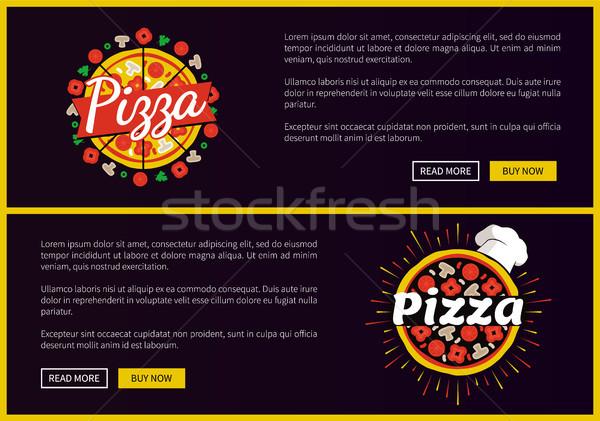 Pizza étterem promóciós internet oldalak szett Stock fotó © robuart