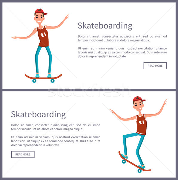 Skateboarding Set of Posters Push Button Read More Stock photo © robuart