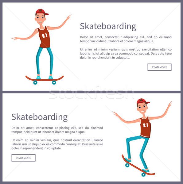 Skateboarding establecer carteles botón leer Foto stock © robuart