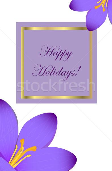 Gelukkig vakantie felicitatie briefkaart krokus verbazingwekkend Stockfoto © robuart