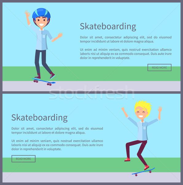 Skateboarding Web Pages Set Vector Illustration Stock photo © robuart