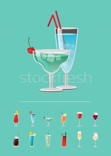 List of Cocktail Choose Refreshing Alcoholic Drink Stock photo © robuart