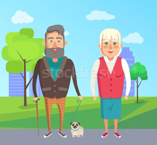 Grandfather Grandmother Walk Dog City Park Vector Stock photo © robuart