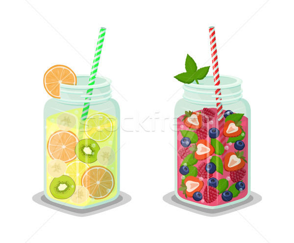 Liquid Dieting Drinks Set Vector Illustration Stock photo © robuart