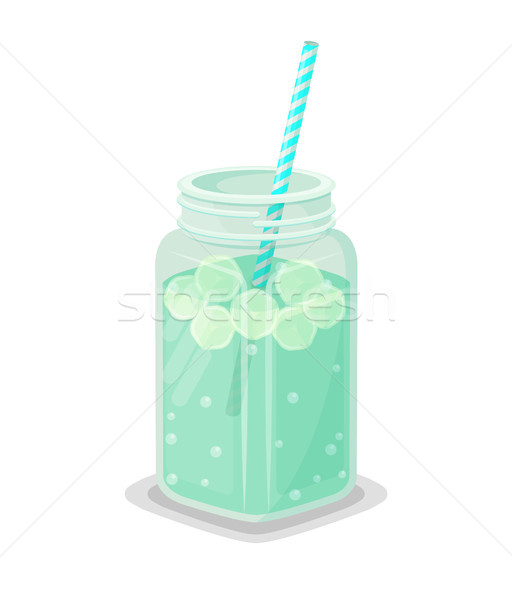 Detox Drink with Ice and Straw in Big Square Jar Stock photo © robuart