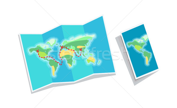 World Map Booklet Isolated on White Background Stock photo © robuart