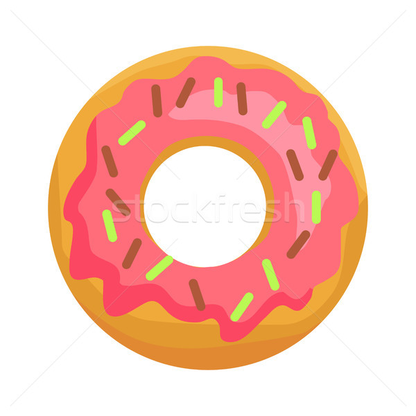 Stock photo: Donut in Pink Glaze with Chocolate Sprinkles Icon