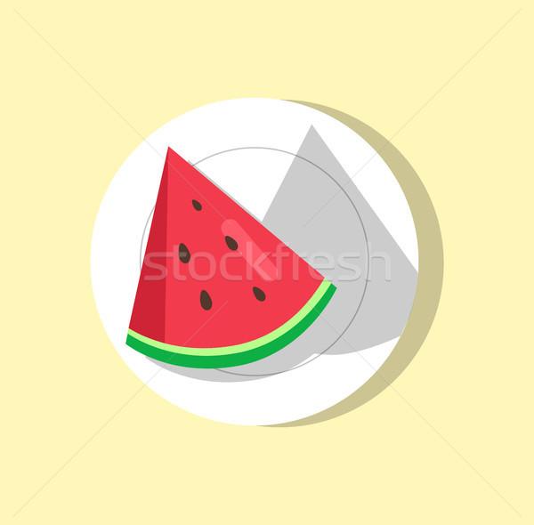 Sandía rebanada placa frutas pieza forma Foto stock © robuart