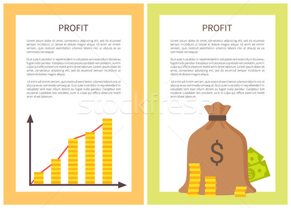 Profit Banners with Growing Chart and Money Bag Stock photo © robuart