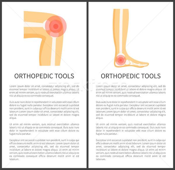 Ortopedico strumenti manifesti testo campione dolore Foto d'archivio © robuart