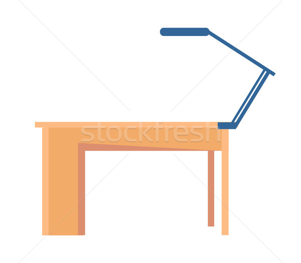 Workplace Table and Lamp, Vector Illustration Stock photo © robuart