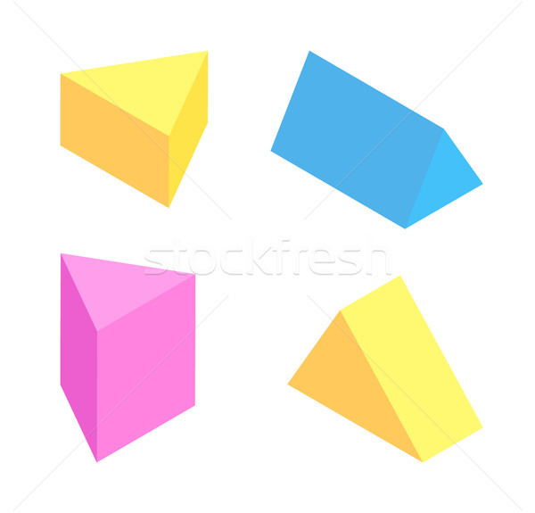 Triangular Prisms Collection, Colorful Figures Set Stock photo © robuart