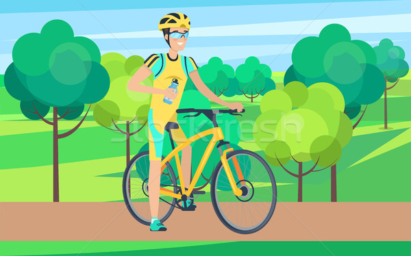 Sportsman on Bicycle View from Right Illustration Stock photo © robuart