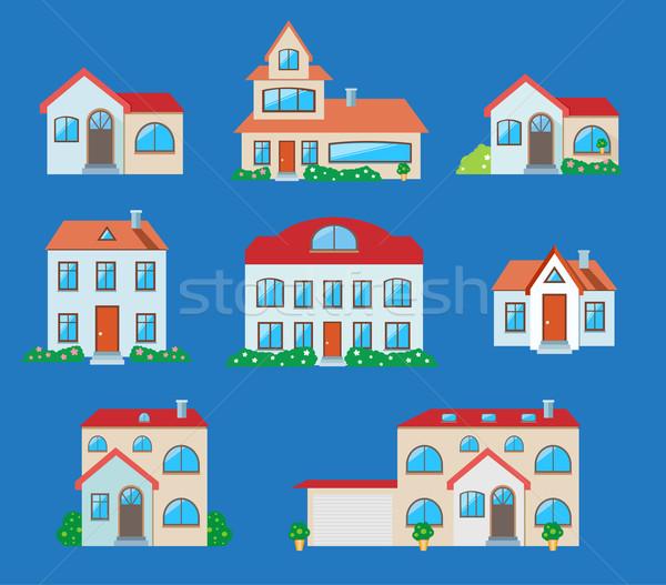 Houses icons set. Real estate Stock photo © robuart