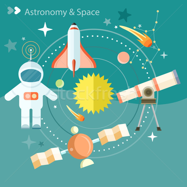 Espace astronomie télescope monde fusée Photo stock © robuart