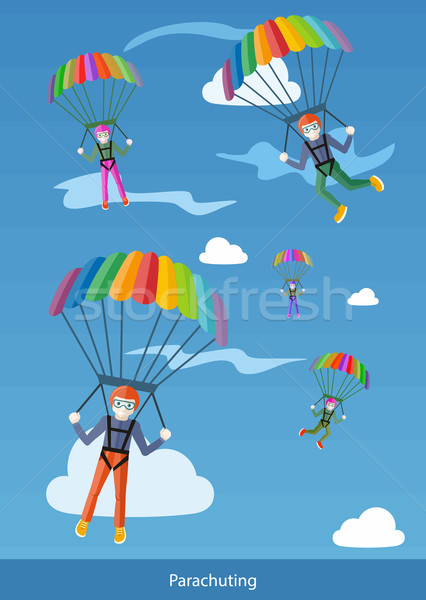 Happy Peoples Plans with Parachutes Stock photo © robuart