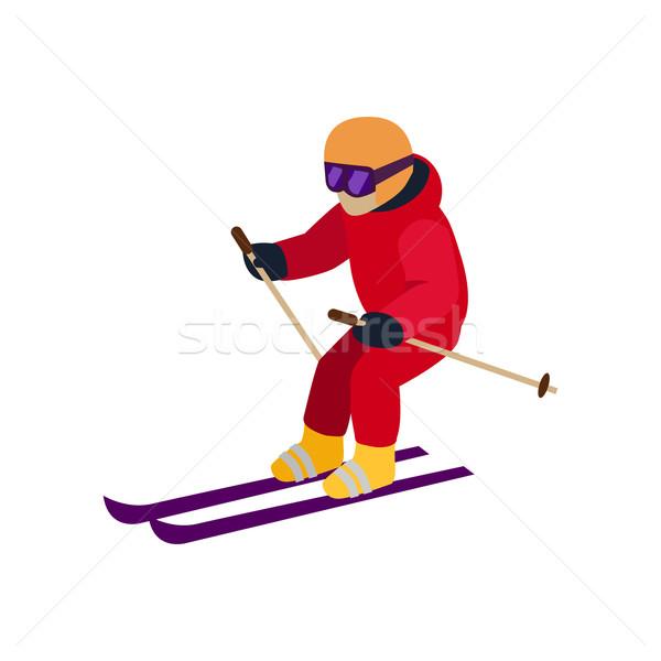 люди лыжах стиль дизайна изолированный лыжник Сток-фото © robuart