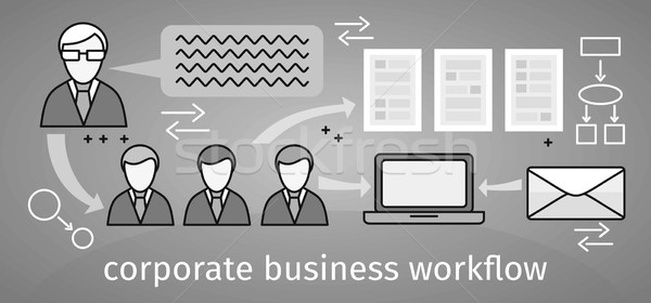 Corporate business workflow banner ontwerp organisatie Stockfoto © robuart