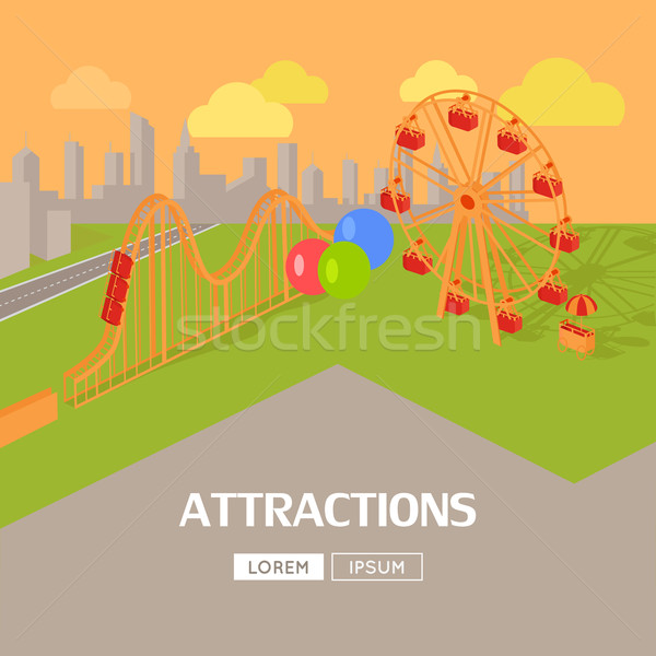 Attractions in Amusement Park Web Banner Stock photo © robuart