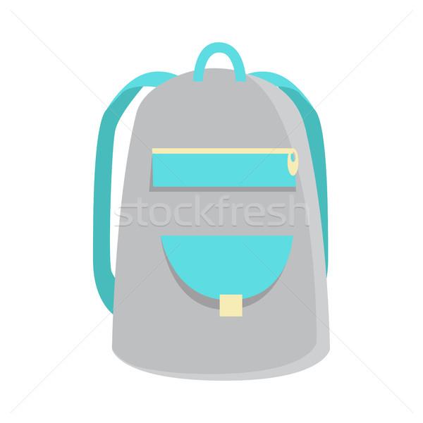 Szürke hátizsák ikon kirándulás gyerekek izolált Stock fotó © robuart