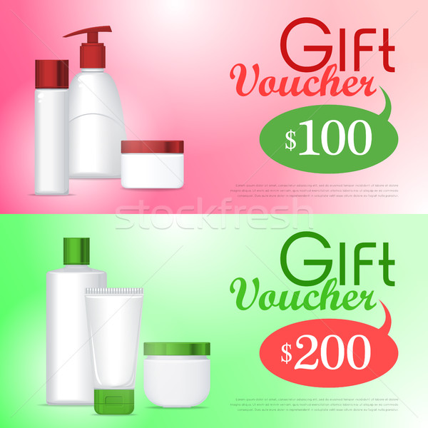 Gift Voucher Cosmetic Template. Certificate Coupon Stock photo © robuart