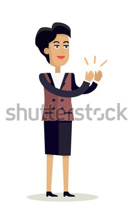 Business Woman Clapping Hands with Happy Face Stock photo © robuart