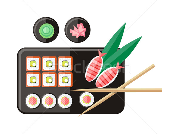 Illustratie stijl vector Japan sushi Stockfoto © robuart