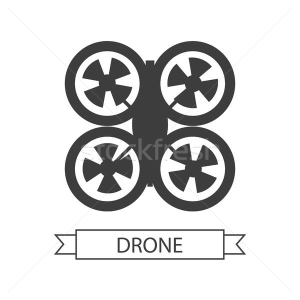Stockfoto: Icon · geïsoleerd · antenne · voertuig · witte · vliegtuigen