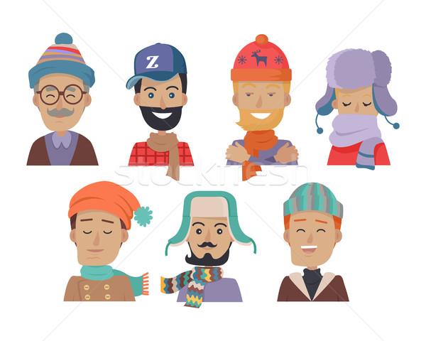 Stock fotó: Ikon · szett · mosolyog · férfiak · sapkák · szett · ikonok