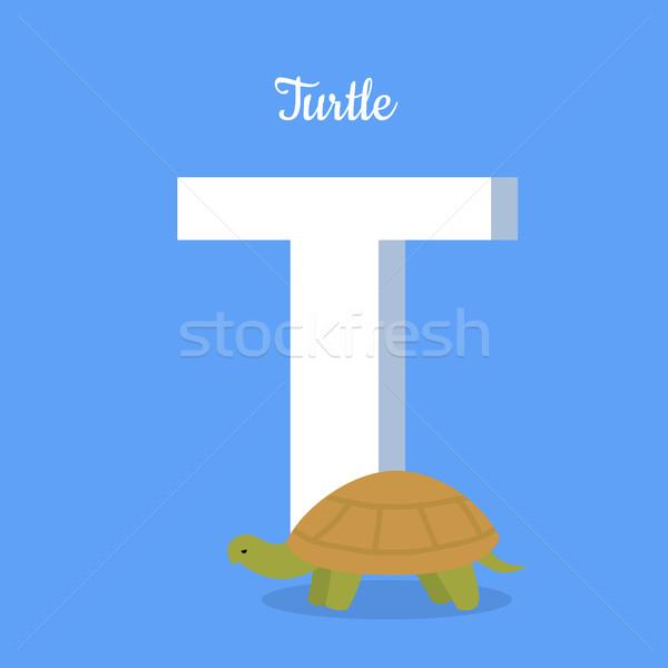 Hayvanlar alfabe mektup büyük kaplumbağa öğrenme Stok fotoğraf © robuart