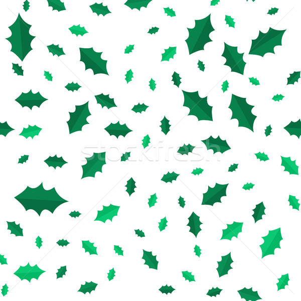 Stock photo: Mistletoe Christmas Tree Leaves seamless pattern.