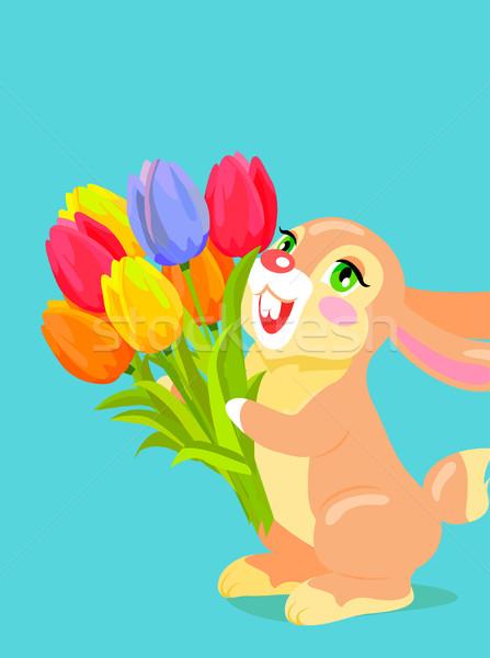 Cute coniglio bouquet tulipano cartoon Foto d'archivio © robuart