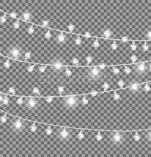Stock photo: Garlands with Round Bulbs on Dark Background.