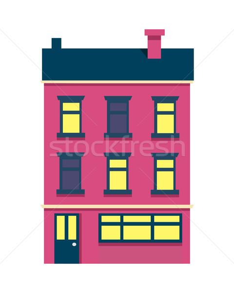Isolated Cartoon House with Three Floors on White Stock photo © robuart