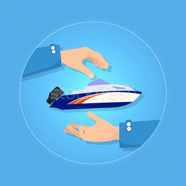 Azul laranja acelerar lancha preto motor Foto stock © robuart