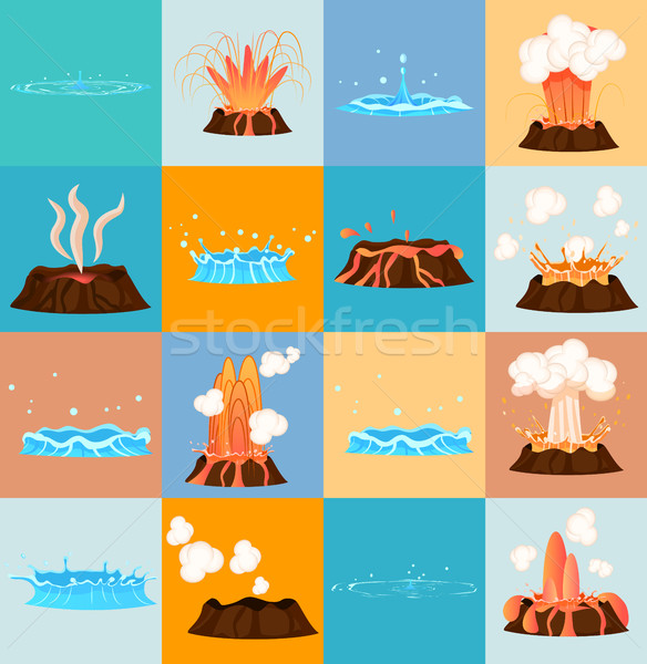Volcano Eruption and Water Discharge by Geyser Stock photo © robuart