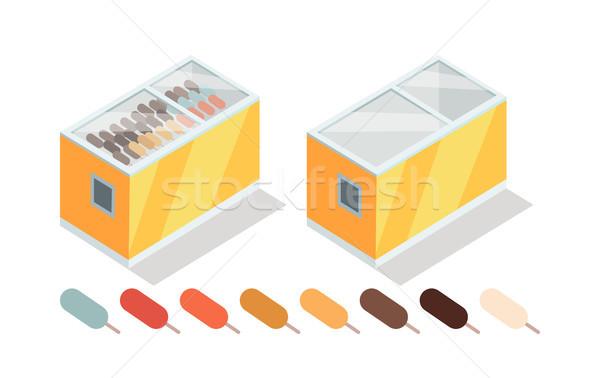 アイスクリーム 冷凍庫 アイソメトリック ベクトル ショップ ストックフォト © robuart