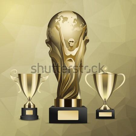 Stockfoto: Glanzend · gouden · trofee · beker · realistisch · vector